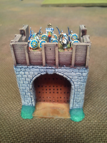 10mm Saxon Fort Stone gateway with wooden ramparts